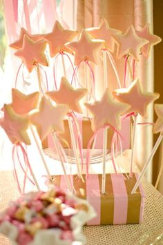 Star wand cookie pops at a pink princess birthday party! See more party planning ideas at CatchMyParty.com!