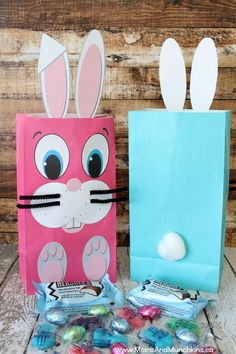 Free Easter Bunny Bag Printables - makes a fun treat bag for kids and they are a free printable!