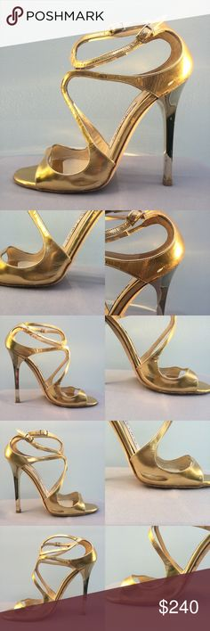 """Jimmy Choo Lance gold mirror leather sandal EU 38 100% authentic Jimmy Choo Lance gold mirror leather sandal, size 38.  The leather is wrinkled on both shoes, and there is normal wear and tear.  The 1st and 2nd pic is of the left shoe, and 3rd pic is of the right shoe.  4.5"""" heel height.  There is also wear on the soles, insoles, and the ankle straps are a bit worn, but fully functional.  The heels have no scratches on them, and the heel tips were recently replaced.  No box or dust bag…"""