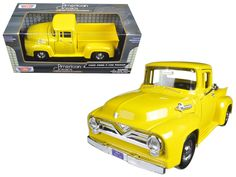 1955 Ford F-100 Pickup Truck Yellow 1/24 Diecast Model Car by Motormax - Brand new 1:24 scale diecast car model of 1955 Ford F-100 Pickup Truck Yellow by Motormax. Brand new box. Rubber tires. Has opening hood and doors. Made of diecast with some plastic parts. Detailed interior, exterior, engine compartment. Dimensions approximately L-7.5, W-3, H-2.5 inches. Please note that manufacturer may change packing box at any time. Product will stay exactly the same.-Weight: 2. Height: 5.5. Width…