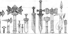 These are some medieval fantasy dwarf weapons, the designs of the blades are shorter and the shape of these designs represent more block, square and rectangular shapes to fit in with the visual designs of a dwarven world and race.  (monkeyinthecage, 2013)