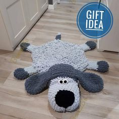 Soft Puppy Dog rug Sleeping bear for children. Сrochet circle gray mat in the nursery. For gift on Baby Shower, Birthday  🐶 A soft plush carpet will not leave to indifferent not only children but also adults. Children very like him to play the, lie, watch TV.  🐶 This puppy will become a wonderful