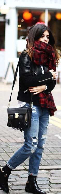 Cool Weather Street Style but I'd swap the jeans with a pair of dark-washed skinnys