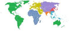 El mundo dividido en 7 regiones, cada una con una población de mil millones