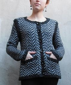 Black & Gray Zigzag Sweater Jacket by Relais Knitwear
