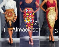 Pencil skirts in African fabric Your choice in fabric displayed Knee length or calf length zipper in the back Custom made to your measurements Contact shop owner for sizes not shown. African Inspired Fashion, African Print Fashion, Africa Fashion, Ethnic Fashion, Look Fashion, Fashion Prints, African Prints, African Attire, African Wear