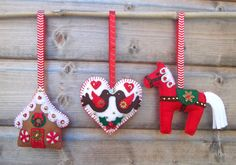 Felt Christmas Decorations - set of 3. ---via Etsy.