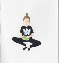 gouache painting / self portrait / ootd
