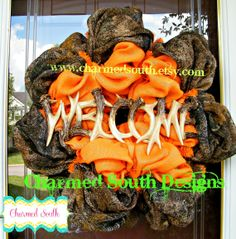 Mossy Oak burlap Wreath front door decor hunting by CharmedSouth.  Perfect for the man in your life!