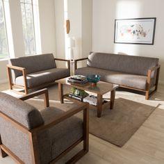 Wholesale Interiors Baxton Studio Valencia Mid-Century 3 Piece Living Room Set & Reviews | Wayfair