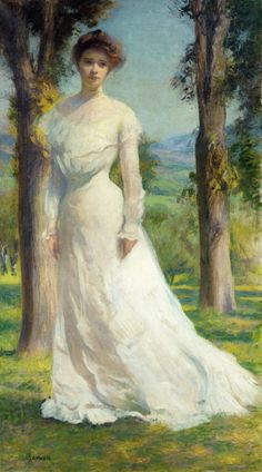 Edmund C. Tarbell (American 1862–1938) [Impressionism, Portrait, The Ten] Margaret Under the Elms, 1895. Private Collection.