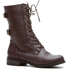 CiCiHot Brown Cadet Kelly Faux Leather Textured Lace Up Combat Boots ($29) ❤ liked on Polyvore featuring shoes, boots, ankle booties, brown booties, military boots, faux leather booties, vegan boots and combat booties