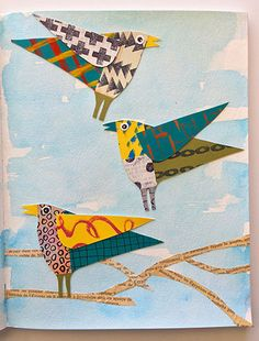 How to Make a Whimsical Collaged Bird – Cloth Paper Scissors Make one collaged bird or a whole flock, and display them for a bright splash of pattern and color. Paper Collage Art, Paper Art, Kids Collage, Paper Crafts, Foam Crafts, Paper Toys, Paper Birds, Bird Crafts, Art Club