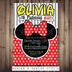 MINNIE MOUSE from Mickey Mouse Clubhouse inspired Birthday Party invite (custom made invitation for any age!) PRINTABLE digital file diy on Etsy, $13.00