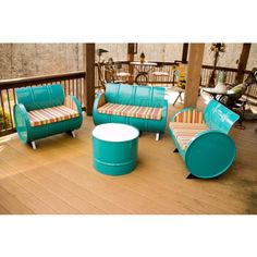Drum Barrel Furniture The Topsail furniture set is made from recycled and repurposed steel drums and is the perfect addition to your patio! The metal is electrostatically sprayed using environmentally