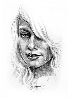 Sketch Drawing | Blond woman portrait sketch (drawing by Igor Lukyanov, cross-hatching)
