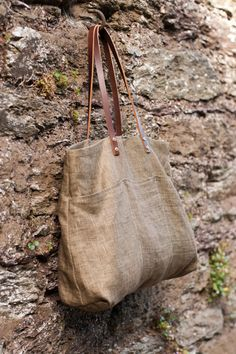 Olive Green Linen bag with leather straps by BostBag on Etsy, $104.00