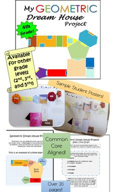 A fun geometry project designed for 4th grade! -includes shape review, rough draft pages, final draft pages, cut out shapes for final design, explanation of floor plan   Geometry has many different uses. This project  will teach students how to apply their knowledge  of geometric shapes to everyday life.