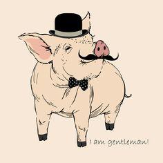 Piggy hipster gentleman Art Print by Olga_Angelloz | Society6