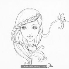 CQcat Exclusive: 100 Sketches Part 1 tattoo girl drawing Disney Drawings Sketches, Girl Drawing Sketches, Girly Drawings, Princess Drawings, Art Drawings Sketches Simple, Pencil Art Drawings, Cartoon Drawings, Art Drawings Beautiful, Beautiful Sketches