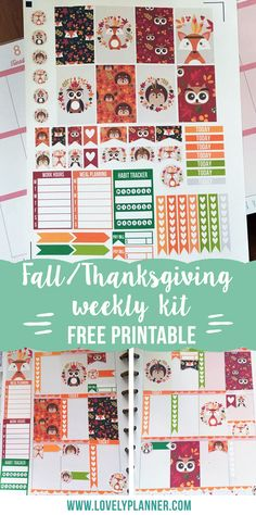 Free thanksgiving forest animal printable weekly kit stickers for your planner, Happy Planner, EC life planner... PDF & Silhouette files included.