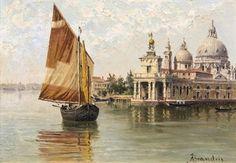 Antonietta Brandeis (Austrian, 1849-1910)  Santa Maria della Salute, Venice  signed 'ABrandeis' (lower right)
