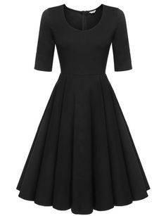 Meaneor Womens Low Cut Casual Swing Dress Fit and Flare Party Cocktail Dress,Black/M