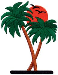 palm tree with surfboard embroidery pattern | Palm Trees embroidery design