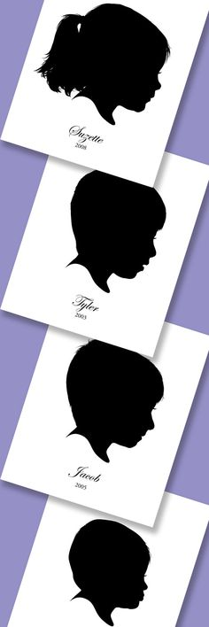 Personalized Children Portraits in Silhouettes by LuvinEveryMinute, $70.00