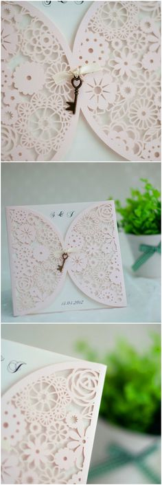 elegant blush pink laser cut wedding invitations with vintage keys