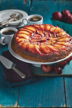 Cast iron isn't used exclusively for savory dishes. It's the perfect cookware for creating stunning, rustic desserts as well. There's no better way to caramelize fruit, like for this Plum Upside-Down Cake, flavored with brown butter and orange. Baking Recipes, Cake Recipes, Dessert Recipes, Desserts, Plum Upside Down Cake, Orange Dessert, Dessert Dishes, Brown Butter, Savoury Dishes