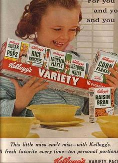 1955 Vintage Kellogg's Variety Pack Cereal Ad, Vintage Food Ads (Other) Old Advertisements, Retro Advertising, Retro Ads, Vintage Ads, Vintage Posters, Vintage Stuff, School Advertising, Vintage Food, Vintage Pink
