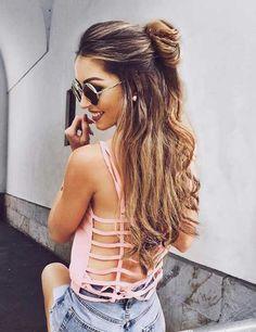 Trendy Half Bun Hairstyle