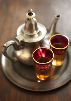 I ♥ Morocco. Here's a lovely tea set...those tea glasses are perfect! There is nothing like Moroccan ANYTHING! SIGH!
