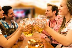 Couples having fun at the Oktoberfest