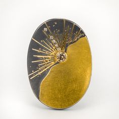 Patina Gallery Atelier Zobel MZ-1-S10-0060 Pendant or Brooch, Oxidized Silver, 24K and 22k Gold, Diamant (0.54 cts), Champagne Colored Diamonds (0.05 cts)