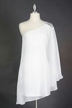 One Shoulder Sleeve Off White Short Cocktail Party Dress