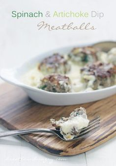 Spinach & Artichoke Dip Meatballs – Low Carb & Gluten Free – I Breathe… I'm Hungry… Spinach Artichoke Dip Meatballs – a Low Carb, Gluten Free, Keto, LCHF, and Atkins Diet friendly recipe from I Breathe I'm Hungry Ketogenic Recipes, Keto Recipes, Cooking Recipes, Free Recipes, Atkins Recipes, Pescatarian Recipes, Dessert Recipes, Healthy Recipes, Best Low Carb Recipes