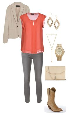 """""""Coral + Grey + Gold"""" by megan-martin-i on Polyvore"""
