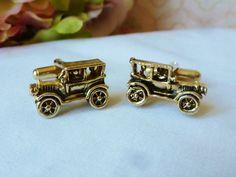Vintage Cufflinks Old Time Car Cuff Links Gold by vintagelady7