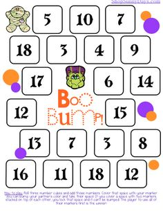Bump is a math game that's been around for a while and there are many different versions of it. Basically, the kids roll three dice, add the sum and cover the answer with their marker. There is a twist to the game though. The full directions are included in the download file. Just click on the link to get your free copy.