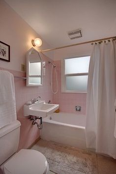 Before After All Hail The Pink Bathroom DesignSponge - Pink bathroom decorating ideas