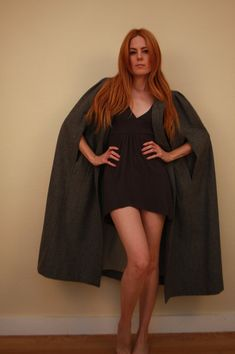 Long women's wool cape by IndigoMoonVtg on Etsy