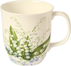 IHR Convallaria Lily-of-the-Valley Floral Bone China Country Mug Set BOC728360