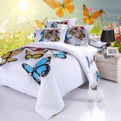 New 3D Butterfly Bedding Set Colorful Duvet Cover Sets Bed Sheets Pillowcases Queen Size Bedroom Textile 3d Jogo de Cama