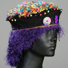 Deep Purple Crochet Hat with Three Colorful by FunkyMagicalHats
