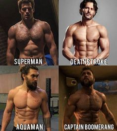 Happy Weekend!  with Henry Cavill as Superman, Joe Manganiello as Deathstroke, Jason Momoa as Aquaman and Jai Courtney as Captain Boomerang.