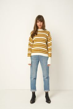 5b516bde7d36 Rue Stiic Alexandra knit, crewneck sweater.Available in white + gold stripe  and in