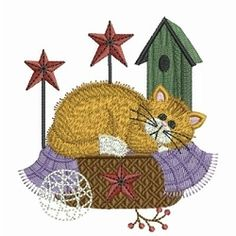 Lazy Kitten 4 - 4x4   Primitive   Machine Embroidery Designs   SWAKembroidery.com Ace Points Embroidery