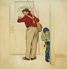 Norman Rockwell (1894-1978) Boy and Shopkeeper : Gone on Business oil and pencil on board 31 X 30 in.